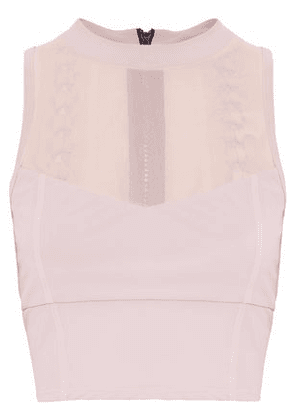 Cushnie Et Ochs Woman Cropped Mesh-paneled Lace-up Stretch Top Lilac Size L