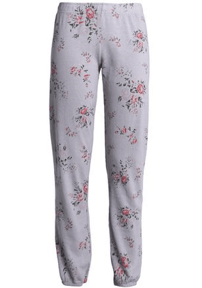 Monrow Woman Floral-print French Terry Track Pants Stone Size XS