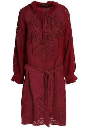 Antik Batik Woman Belted Broderie Anglaise Cotton Dress Claret Size 40