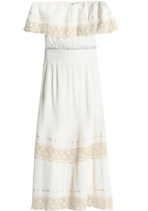 Antik Batik Woman Off-the-shoulder Cotton-gauze Midi Dress Ivory Size 40