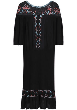 Antik Batik Woman Odelia Embroidered Mesh-paneled Crinkled-voile Dress Black Size 38