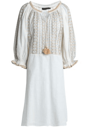 Antik Batik Woman Lully Metallic Embroidered Cotton-gauze Dress Ivory Size 38