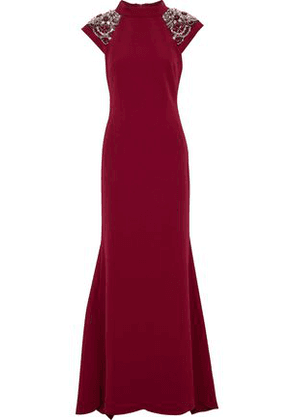 Badgley Mischka Woman Embellished Crepe Gown Claret Size 4