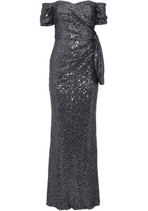 Badgley Mischka Woman Off-the-shoulder Knotted Sequined Tulle Gown Charcoal Size 12