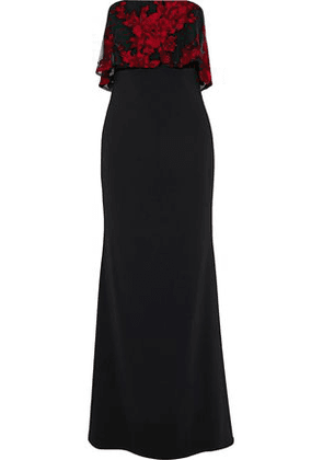 Badgley Mischka Woman Strapless Embroidered Tulle-paneled Cady Gown Black Size 8