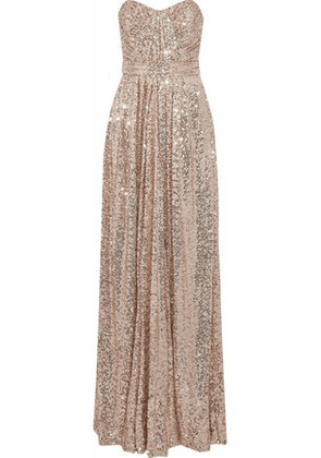 Badgley Mischka Woman Strapless Gathered Sequined Mesh Gown Antique Rose Size 12