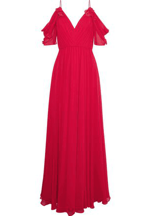 Badgley Mischka Woman Cold-shoulder Floral-appliquéd Chiffon Gown Tomato Red Size 12