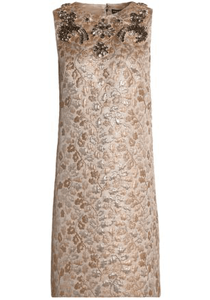 Dolce & Gabbana Woman Crystal-embellished Brocade Mini Dress Gold Size 36