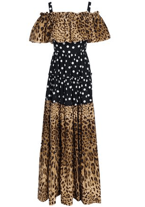 Dolce & Gabbana Woman Cold-shoulder Polka-dot And Leopard-print Cotton-poplin Maxi Dress Animal Print Size 44