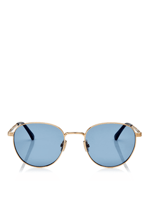 HENRI Gold Oval Metal Sunglasses with Blue Lenses