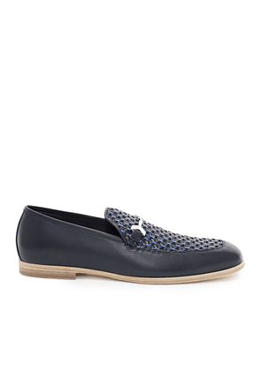 MARTI Navy Woven Fabric and Aqua Leather Loafers