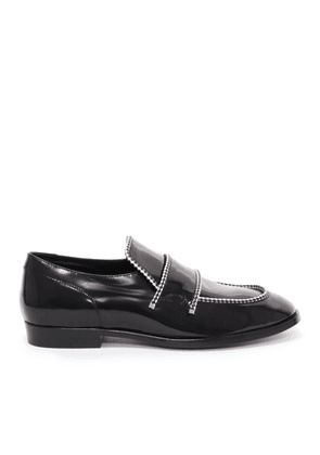 TALIB Black Shiny Calf Loafers with White Rope Binding