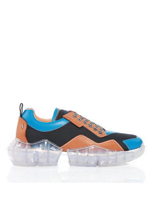 DIAMOND/M Aqua and Tan Soft Leather and Techno Mesh Trainers with Trainers with Chunky Platform