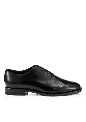 TYE Black and Gunmetal Shiny Calf Lace Up Dress Shoes With a Star Perforation