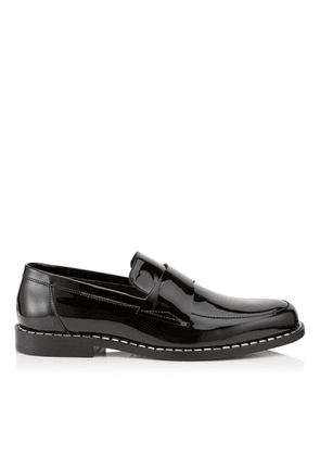 BANE Black Patent Leather Loafers with Crystal Trim