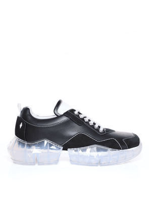 DIAMOND/M Black and White Calf Leather and Suede Trainers with Chunky Platform