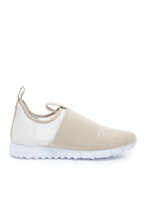 OAKLAND/M Moon and White Suede with Mesh Trainers with Bottle Elastic Detailing