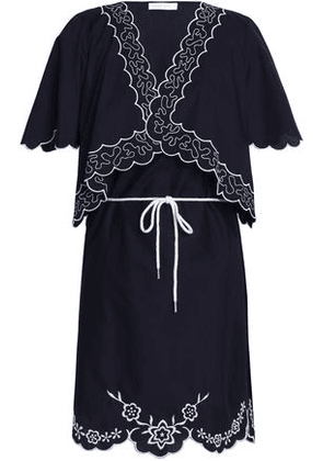 4bdf14999fe See By Chloé Woman Scalloped Embroidered Cotton-poplin Mini Dress Midnight  Blue Size 40