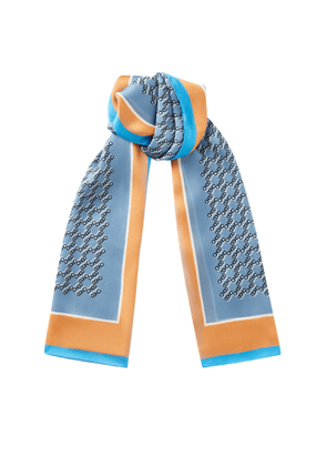 MELI Rectangular Silk Stole in Stone Blue with all over CHOO logo