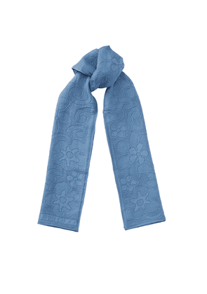 DAISY Stone Blue Soft Cotton and Silk Jacquard Stole with Seasonal Florals and Embroided Logo