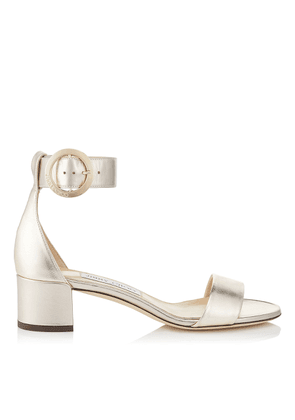 a9db4b93cbb5 JAIMIE 40 Gold Mix Metallic Nappa Leather Sandal with Round Buckle Fastening