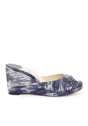 ALMER 80 Stone Blue Jacquard Denim Sandal Mules with Covered Wedge