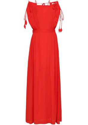 Tory Burch Woman Cold-shoulder Crepe Maxi Dress Red Size 8