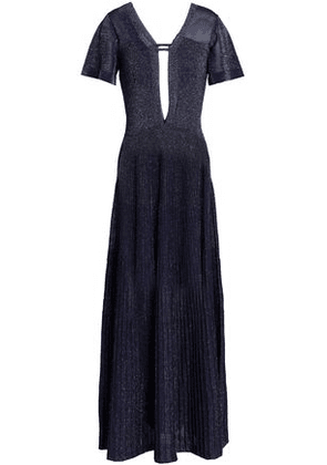 Vionnet Woman Cutout Metallic Stretch-knit Gown Indigo Size 46