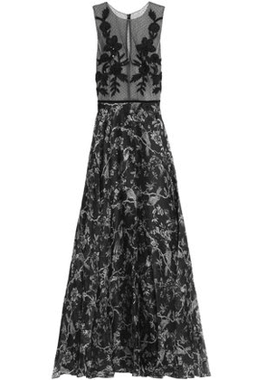 Sachin & Babi Woman Floral Applique Organza Paneled Silk Jacquard Gown Black Size 6