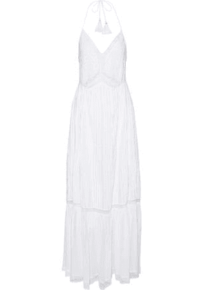 Love Sam Woman Embroidered Pleated Cotton-gauze Maxi Dress White Size XS