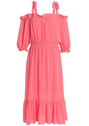 Baum Und Pferdgarten Woman Cold-shoulder Ruffle-trimmed Crepe De Chine Midi Dress Bubblegum Size 34