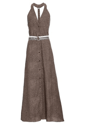 Diane Von Furstenberg Woman Belted Printed Linen Maxi Dress Brown Size M