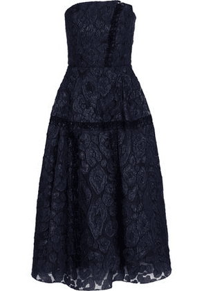 Roland Mouret Woman Lydney Strapless Fil Coupé Organza Midi Dress Navy Size 6
