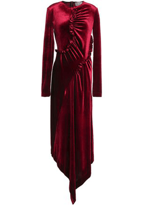 Preen By Thornton Bregazzi Woman Tegan Asymmetric Ruffle-trimmed Velvet Midi Dress Crimson Size M