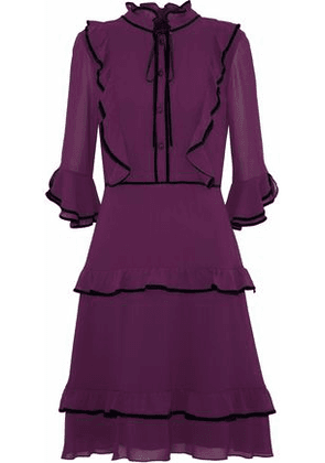 Mikael Aghal Woman Velvet-trimmed Ruffled Chiffon Dress Purple Size 4