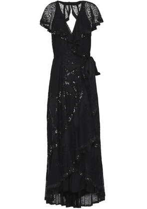Temperley London Woman Open-back Sequin-embellished Lace Midi Dress Black Size 10