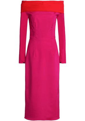 Emilio De La Morena Woman Off-the-shoulder Stretch-silk Ponte Midi Dress Fuchsia Size 8