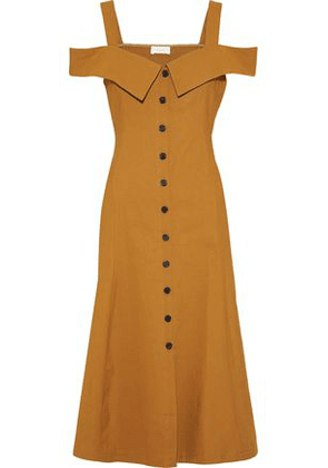 A.l.c. Woman Hudson Cold-shoulder Linen-blend Midi Dress Mustard Size 2