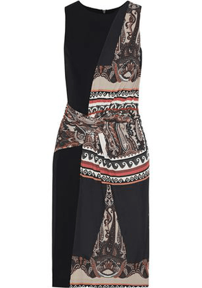 Etro Woman Paneled Ruched Printed Stretch-jersey Dress Black Size 42