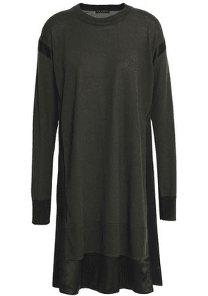 Rag & Bone Woman Satin-trimmed Merino Wool-blend Mini Dress Forest Green Size L