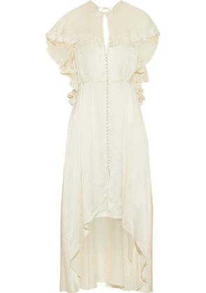Magda Butrym Woman Avola Cape-effect Ruffled Silk-satin Midi Dress Cream Size 38