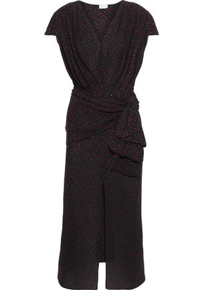 Magda Butrym Woman Diablo Tie-front Polka-dot Silk Crepe De Chine Midi Dress Black Size 36