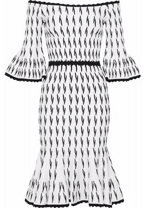 Hervé Léger Woman Off-the-shoulder Fluted Jacquard-knit Dress White Size L