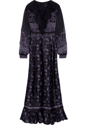 Anna Sui Woman Lace-up Printed Fil Coupé Chiffon And Silk-blend Satin Maxi Dress Black Size 0