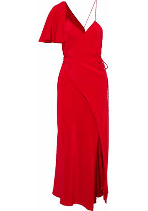 Michelle Mason Woman Asymmetric Crepe De Chine Midi Wrap Dress Crimson Size 2