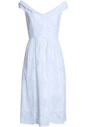 Milly Woman Gathered Broderie Anglaise Cotton Dress White Size 6