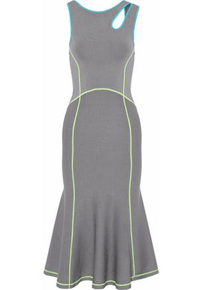 Alexander Wang Woman Cutout Stretch-knit Midi Dress Gray Size XS