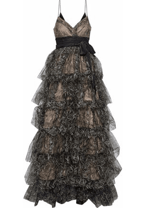 Cinq À Sept Woman Silk Satin-paneled Tiered Embroidered Tulle Gown Black Size 10