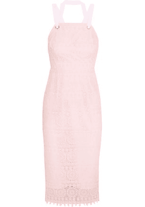 Rebecca Vallance Woman Lace-up Guipure Lace Dress Pastel Pink Size 12