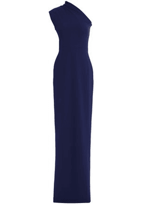 Solace London Woman Luna One-shoulder Stretch-crepe Gown Navy Size 8